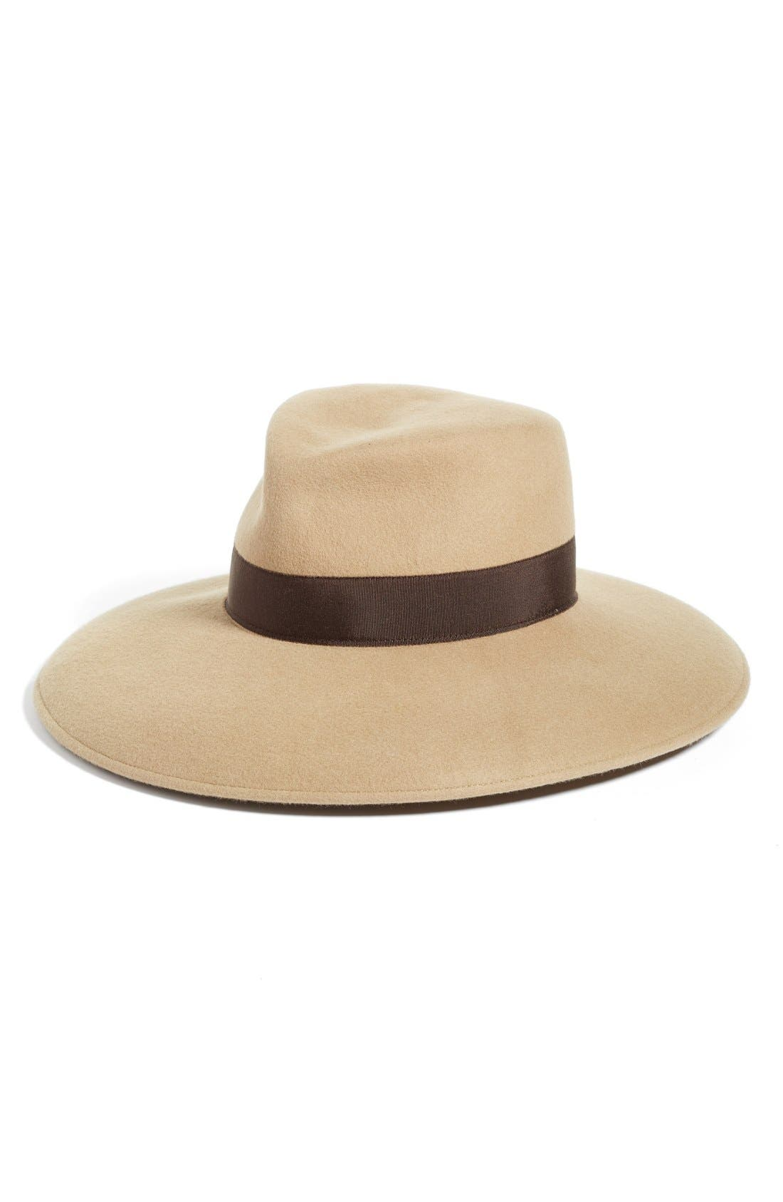 Camille Wool Floppy Hat,                             Main thumbnail 1, color,                             Camel/ Brown