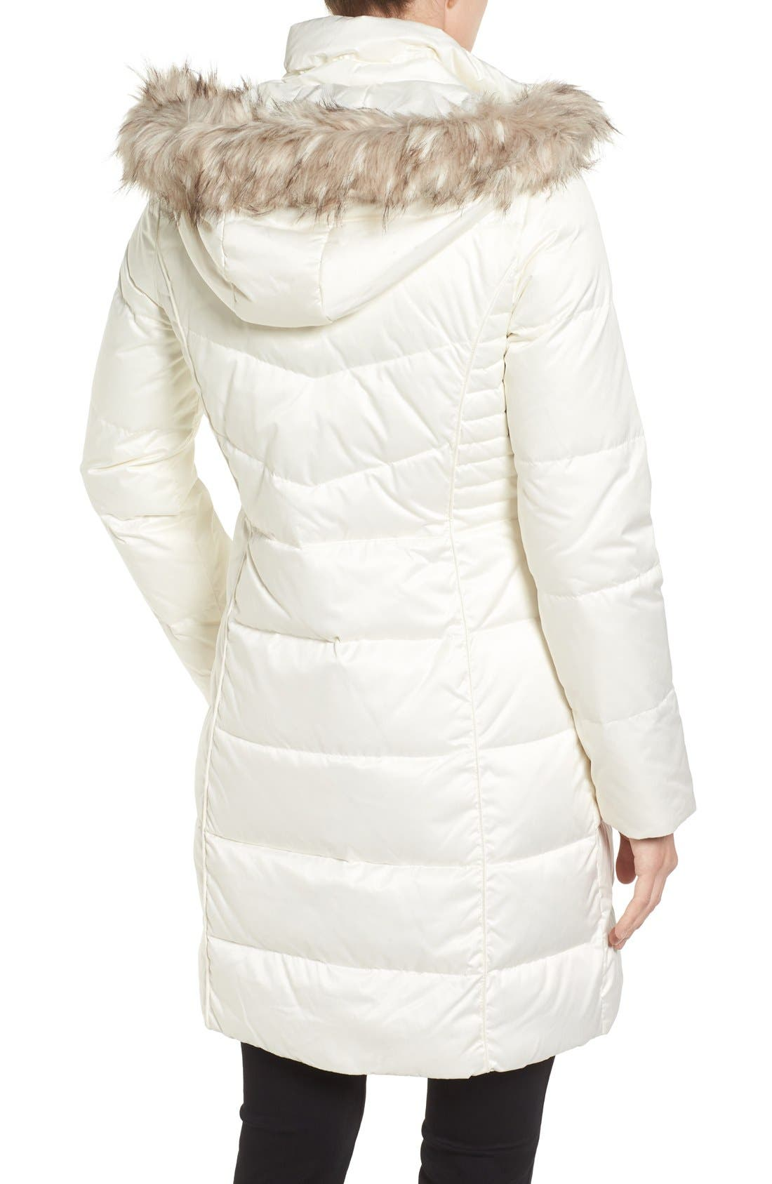 Alternate Image 2  - Ellen Tracy Faux Fur Trim Matte Satin Down Coat (Regular & Petite)