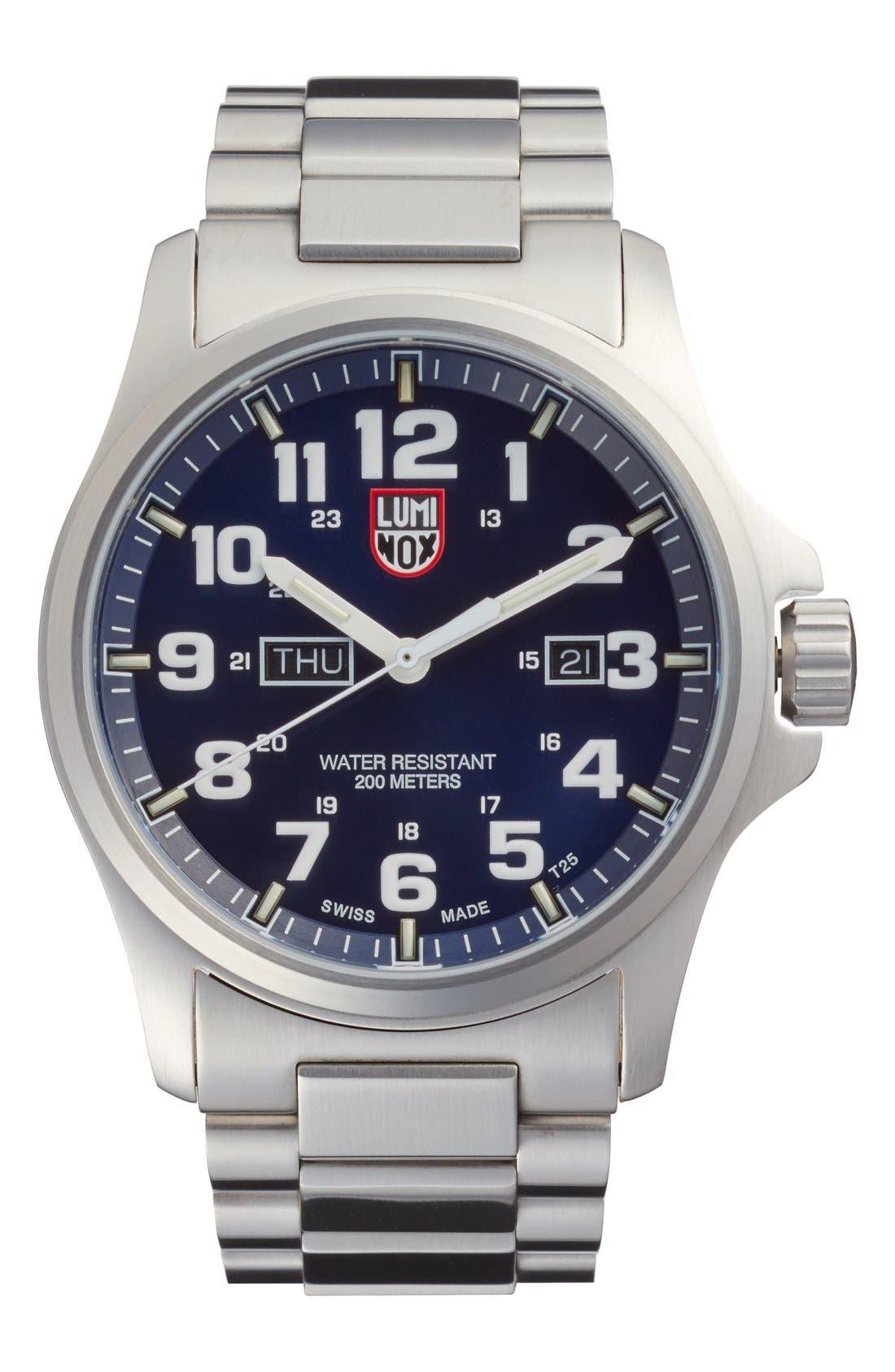 Atacama Field Bracelet Watch, 45mm,                         Main,                         color, Dark Blue/ Tan