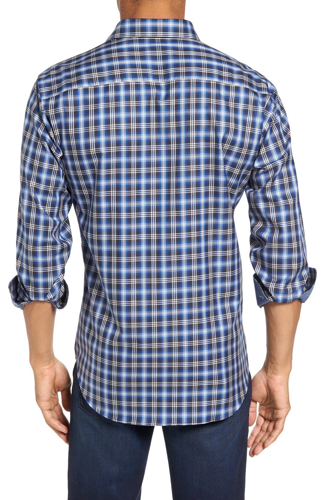 Alternate Image 2  - Bugatchi Trim Fit Ombré Plaid Sport Shirt