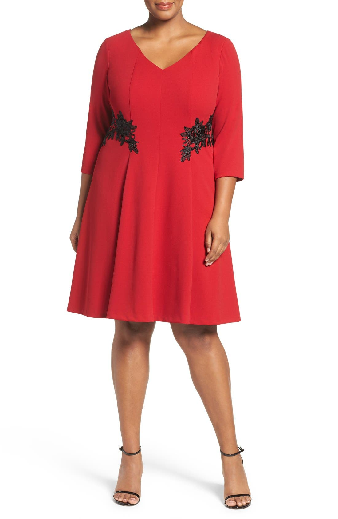 Lace Trim Fit & Flare Dress,                             Alternate thumbnail 4, color,                             Red