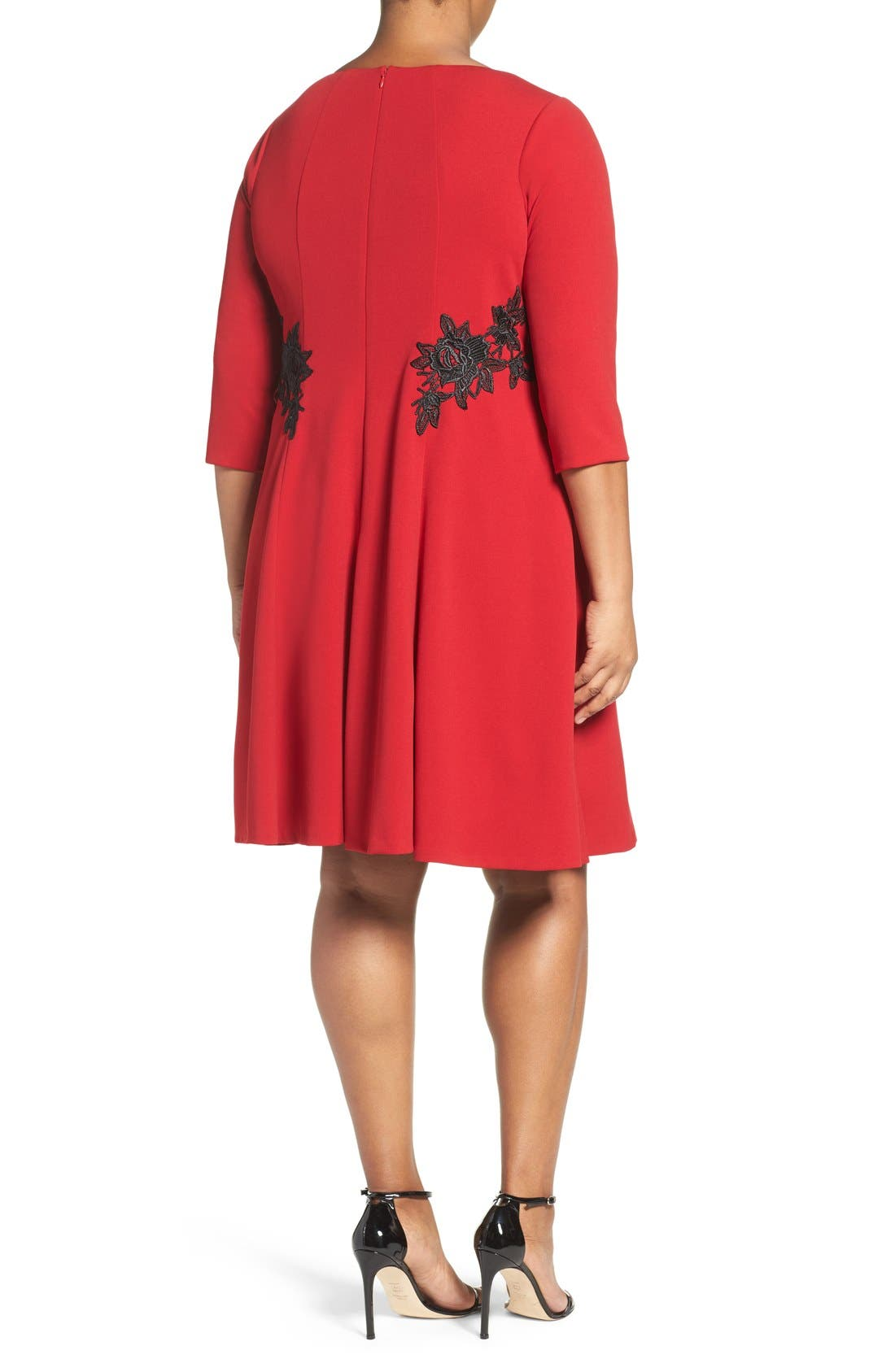 Lace Trim Fit & Flare Dress,                             Alternate thumbnail 2, color,                             Red