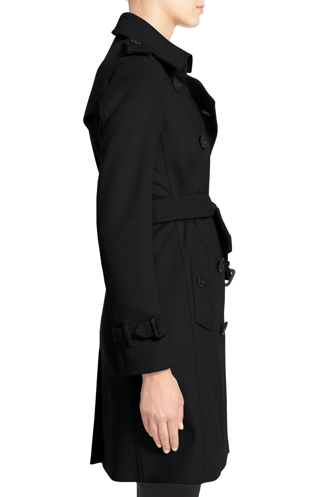 Kensington Double Breasted Wool & Cashmere Trench Coat,                             Alternate thumbnail 5, color,                             Black