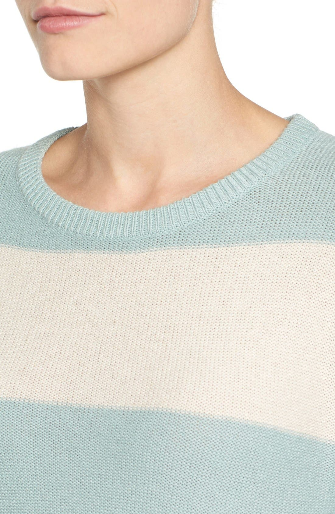 Alternate Image 4  - Caslon® Contrast Cuff Crewneck Sweater (Regular & Petite)