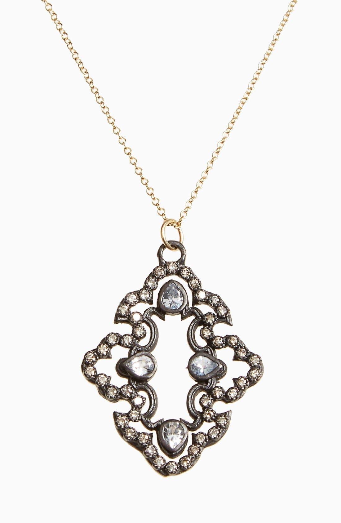 Old World Diamond Scroll Pendant Necklace,                         Main,                         color, Black