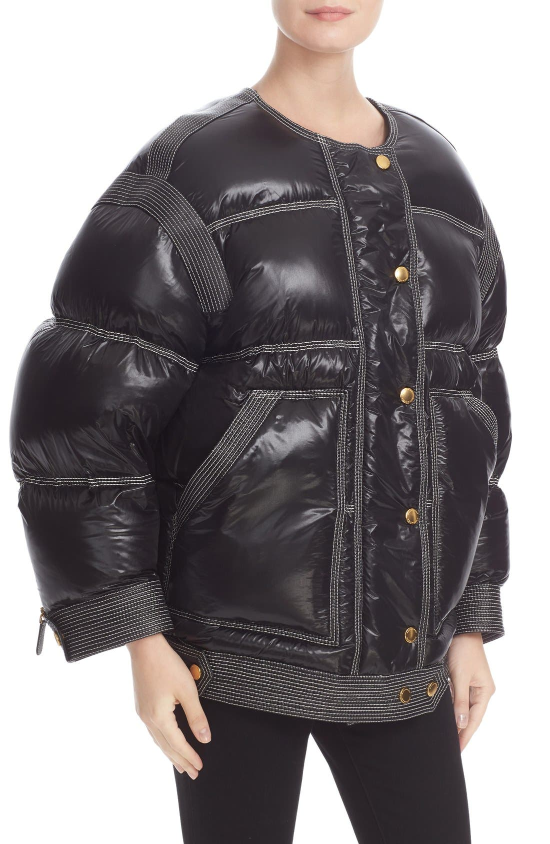 Alternate Image 2  - Burberry Puffer Coat with Removable Genuine Shearling Collar