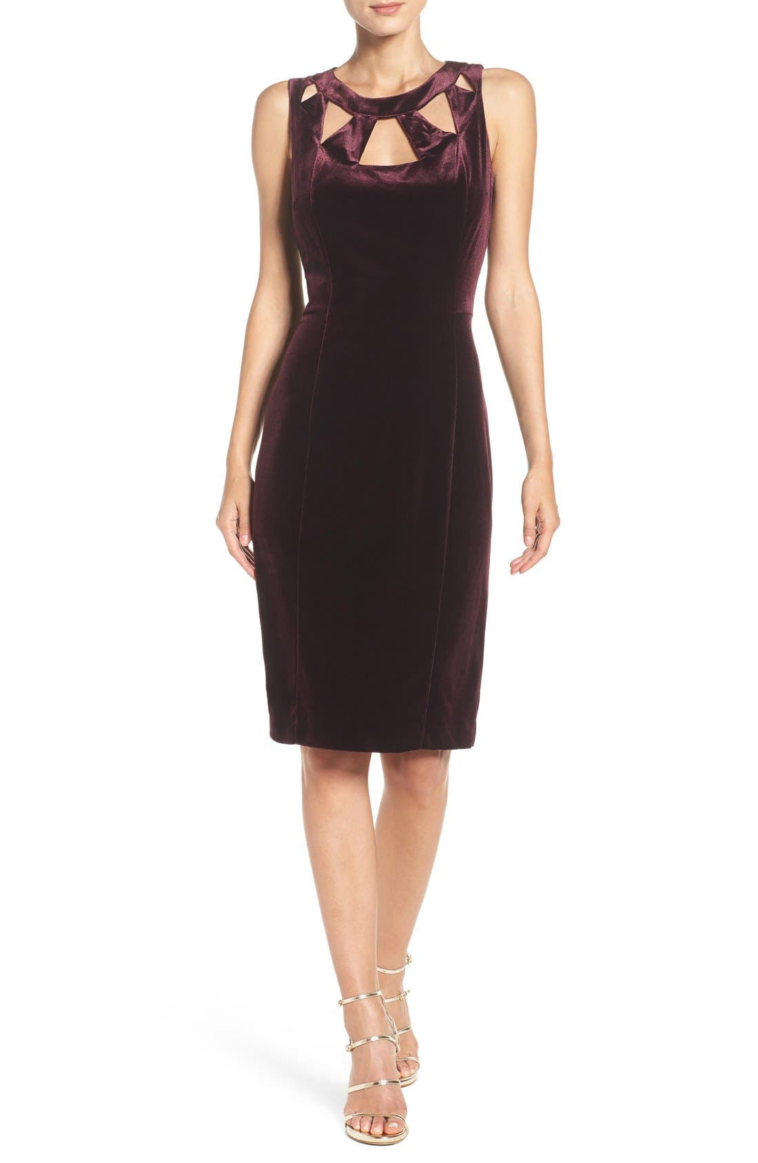 Alternate Image 4  - Eliza J Velvet Cutout Sheath Dress
