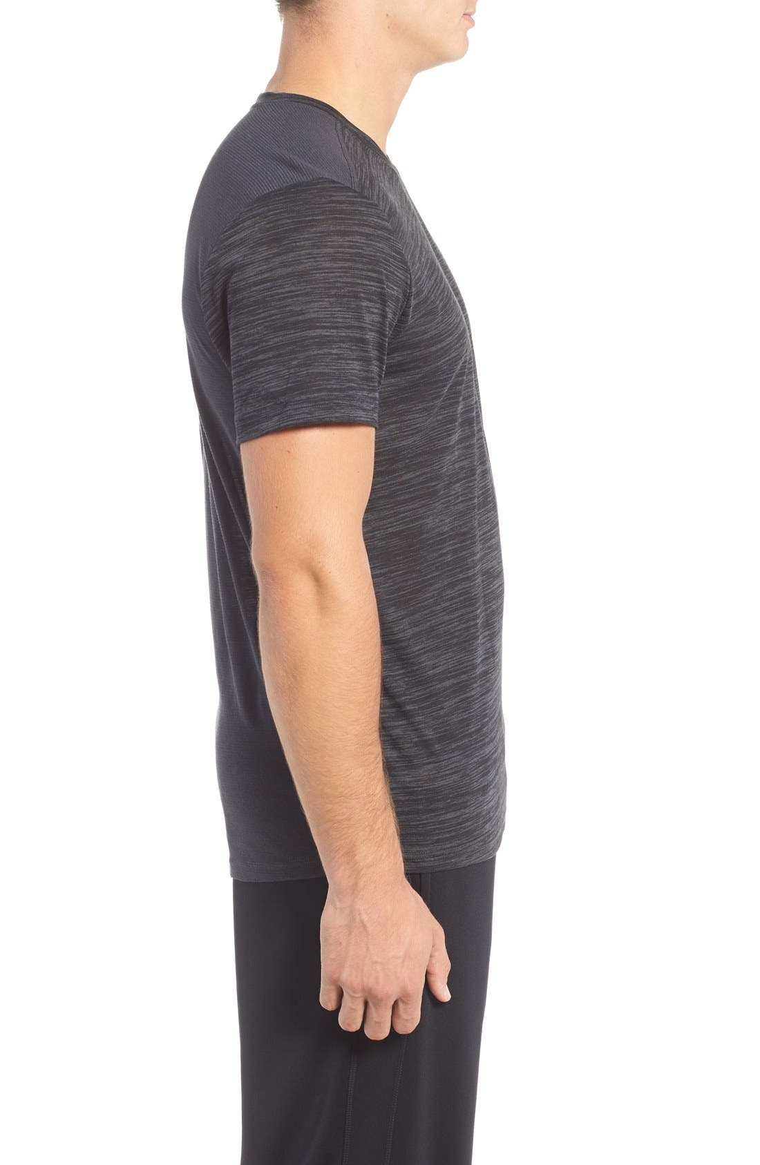 'Streaker Run' Microthread V-Neck T-Shirt,                             Alternate thumbnail 3, color,                             Anthracite/ Reflective Silver