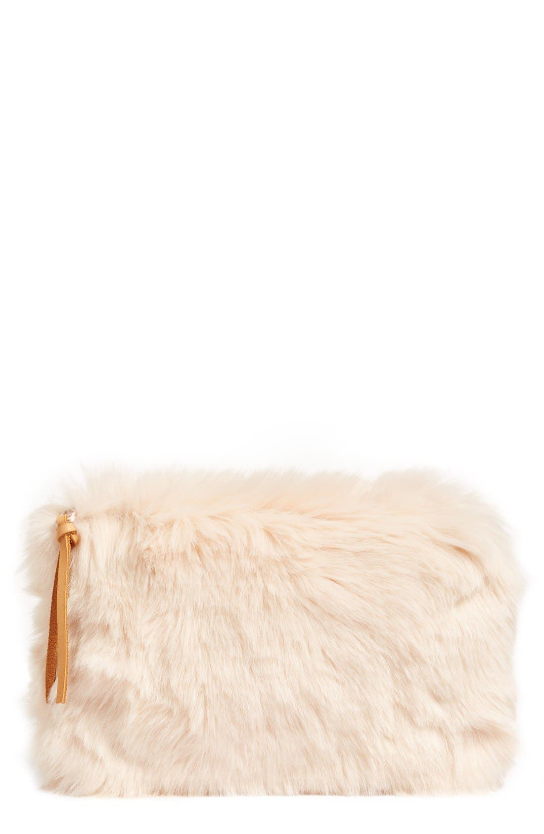 Cuddle Up Faux Fur Pouch,                             Main thumbnail 1, color,                             Pink Peony