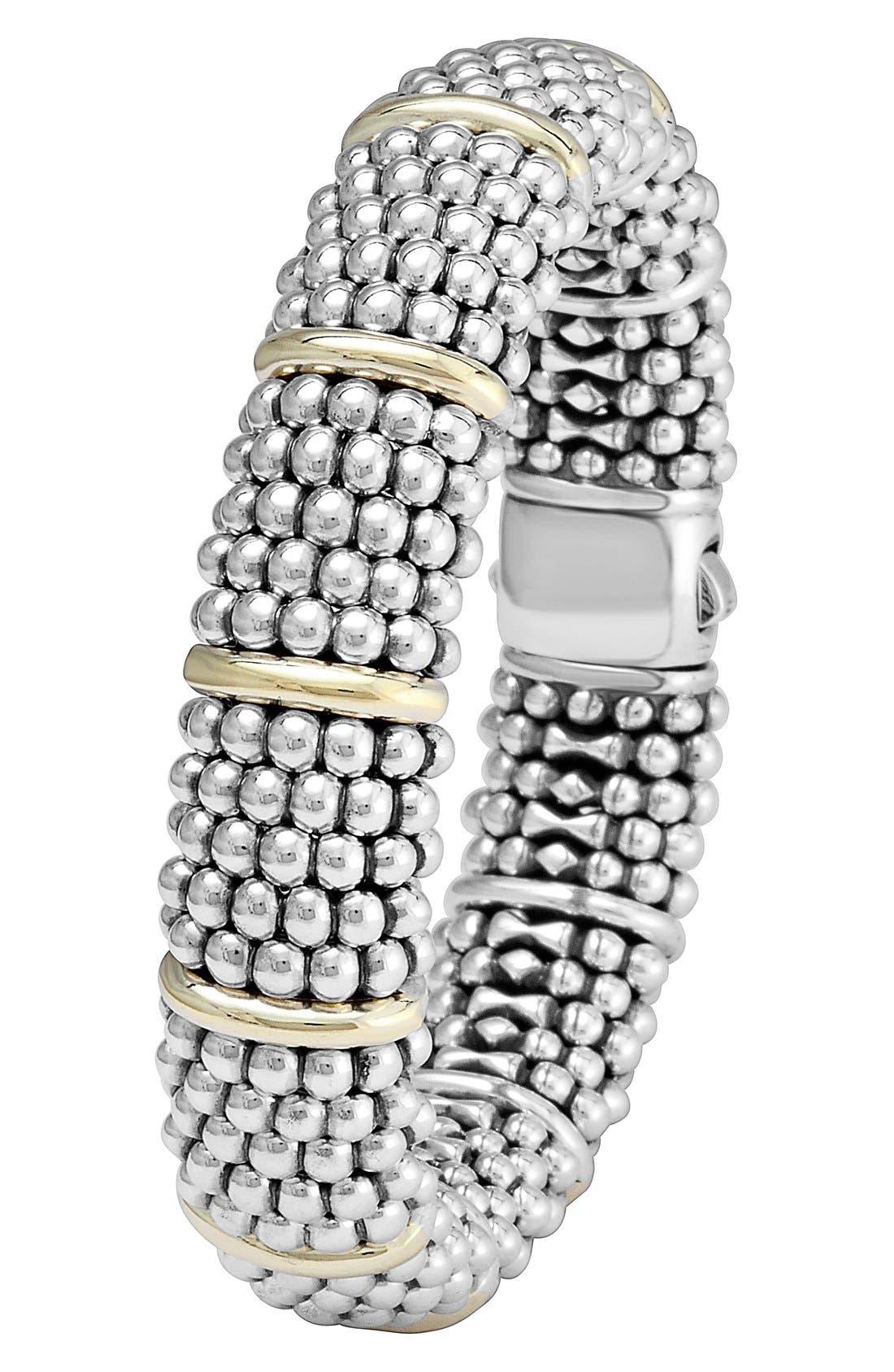 Oval Caviar Bracelet,                             Alternate thumbnail 2, color,                             Silver/ Gold