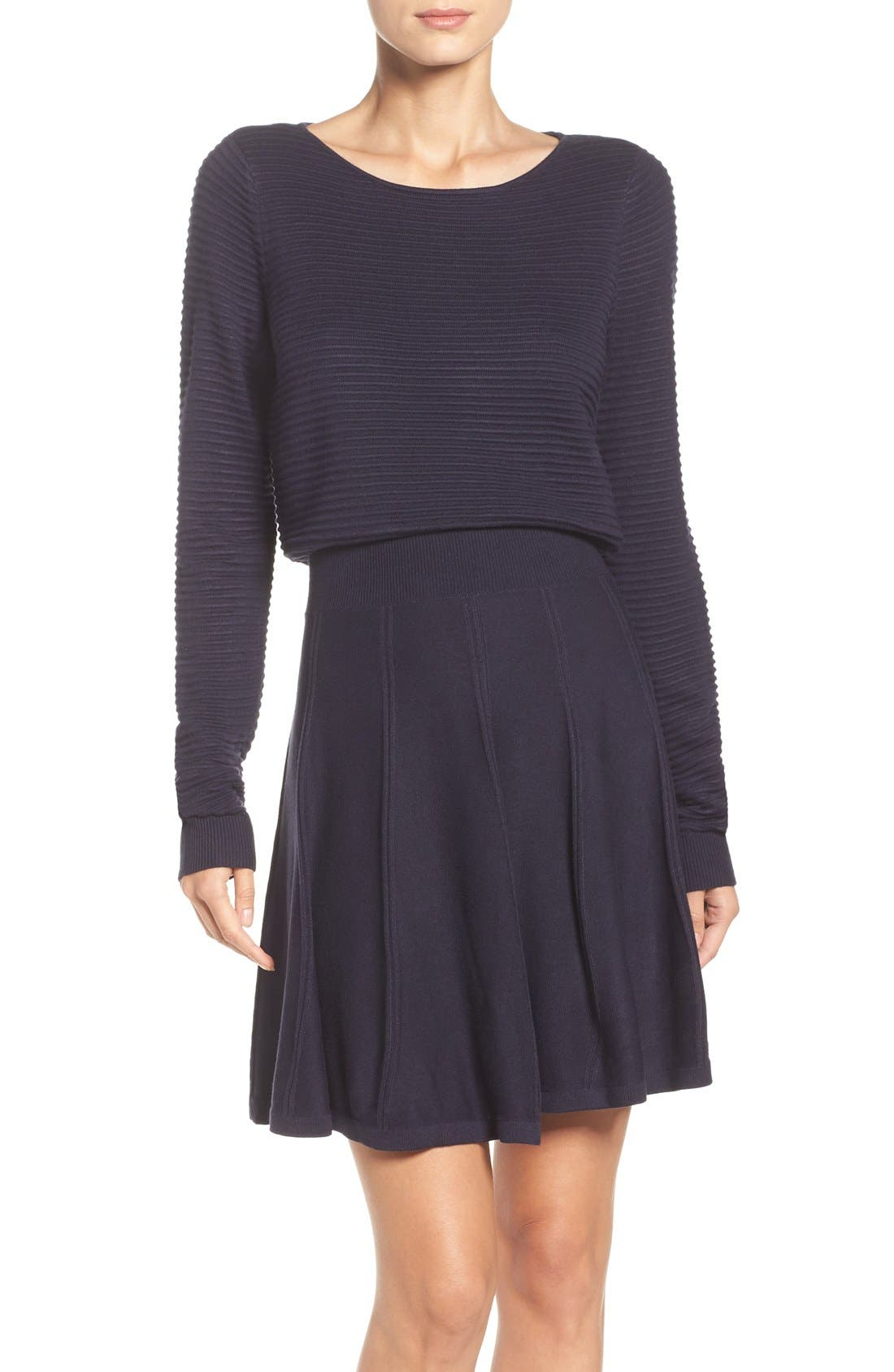 Main Image - Eliza J Sweater Fit & Flare Dress