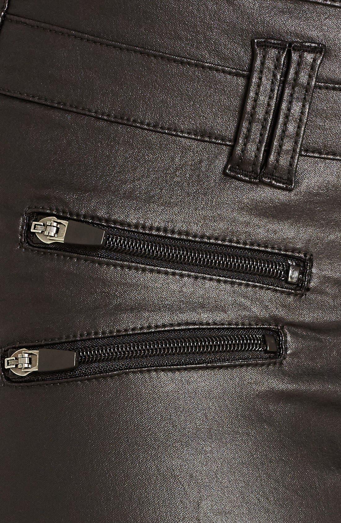 Coated Corset Skinny Jeans,                             Alternate thumbnail 5, color,                             Black