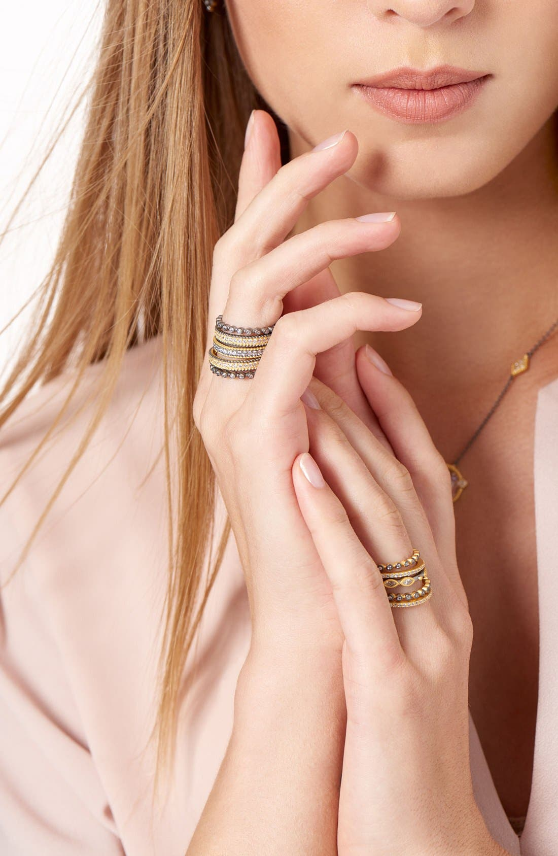 Delicate Stackable Rings,                             Alternate thumbnail 5, color,                             Gold/ Gunmetal/ Clear