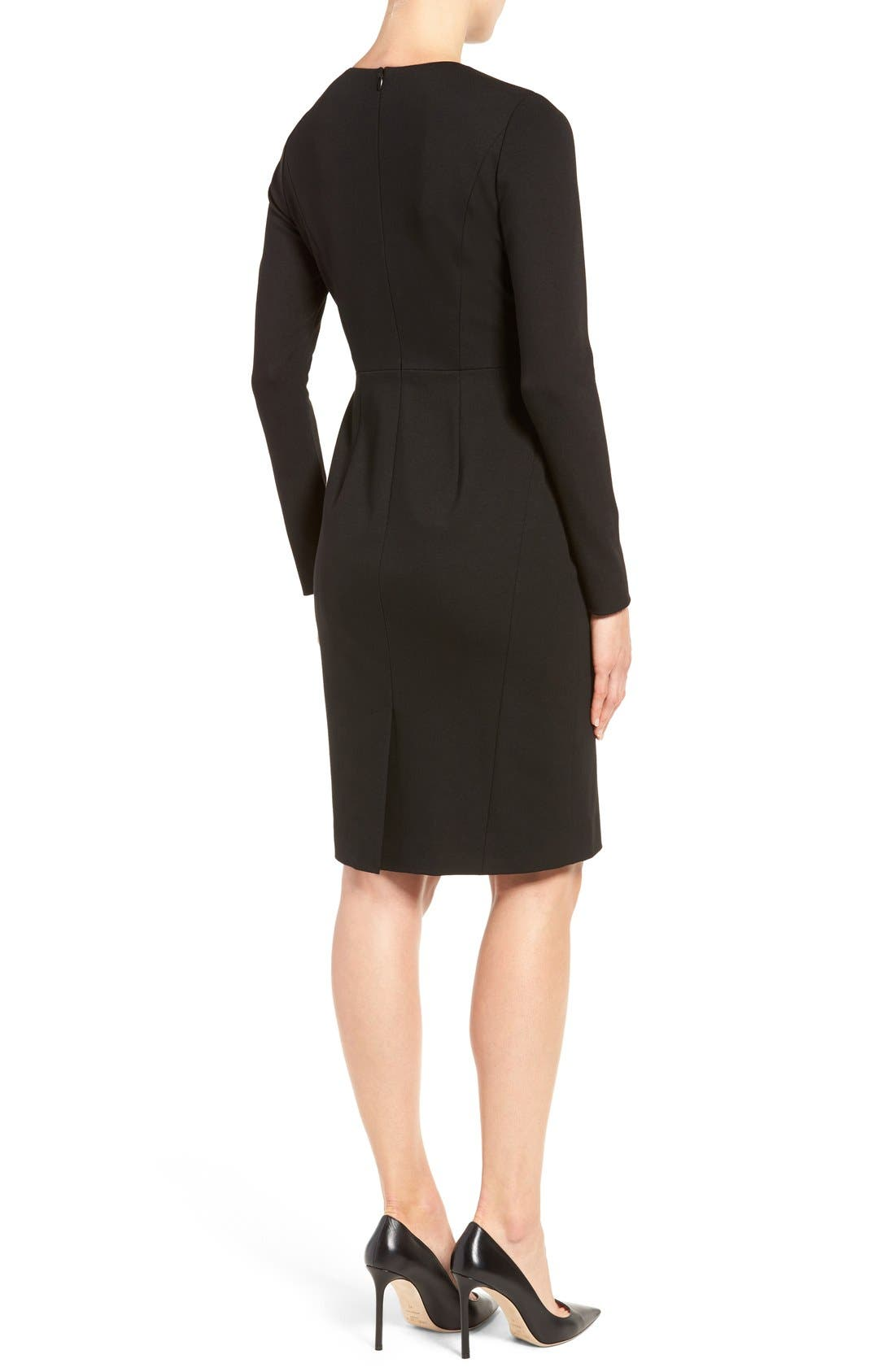 Alternate Image 2  - Classiques Entier® Pleat Neck Italian Ponte Sheath Dress