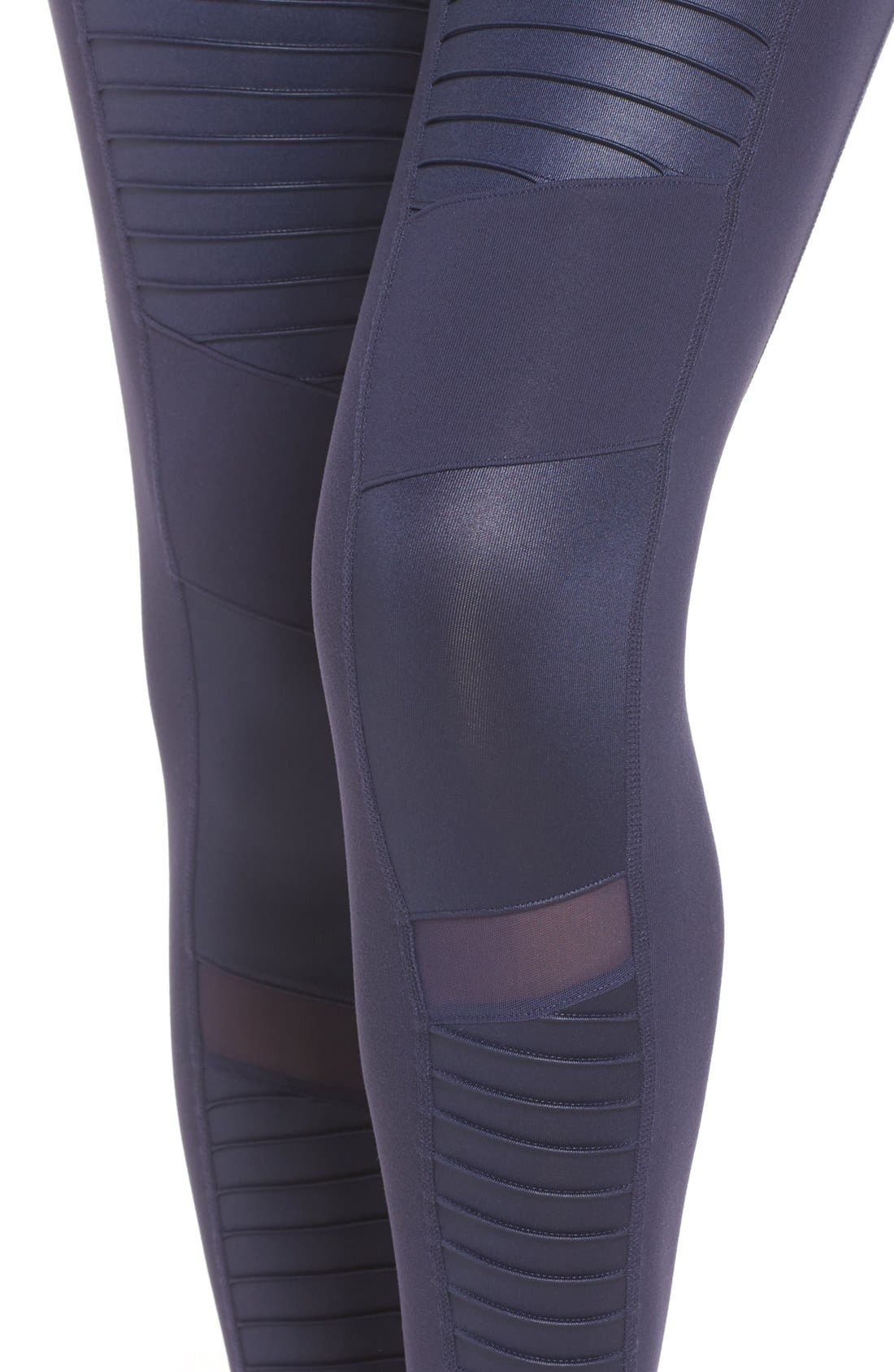 High Waist Moto Leggings,                             Alternate thumbnail 4, color,                             Rich Navy/ Rich Navy Glossy