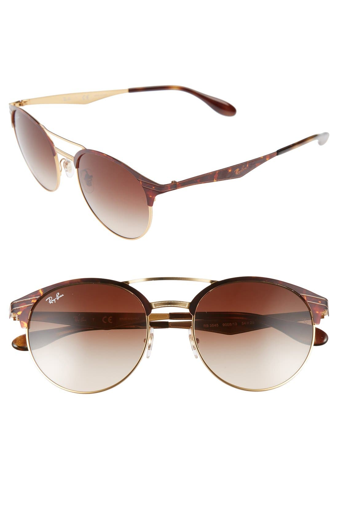Highstreet 54mm Round Sunglasses,                         Main,                         color, Black/ Silver