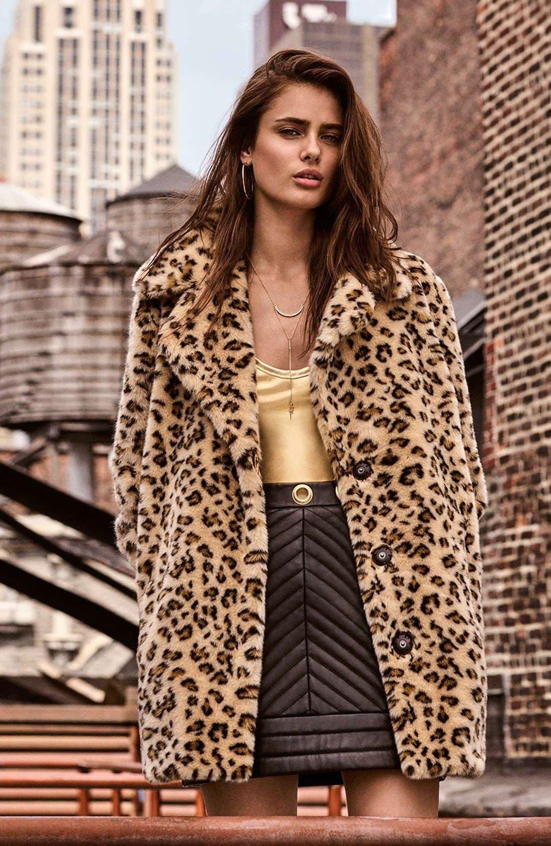 Alternate Image 2  - Topshop Leopard Faux Fur Coat