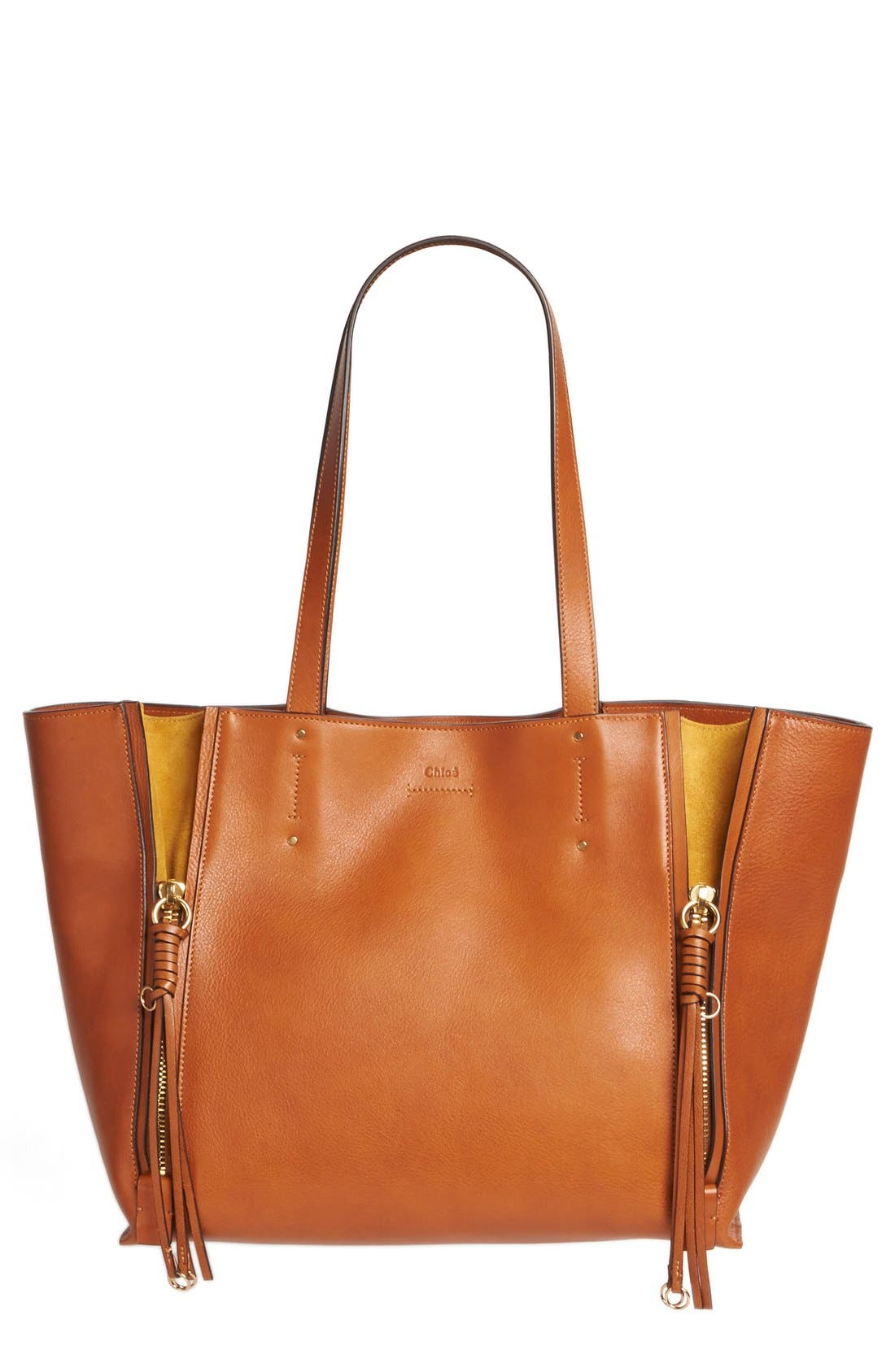 Medium Milo Calfskin Leather Tote,                             Main thumbnail 1, color,                             Caramel