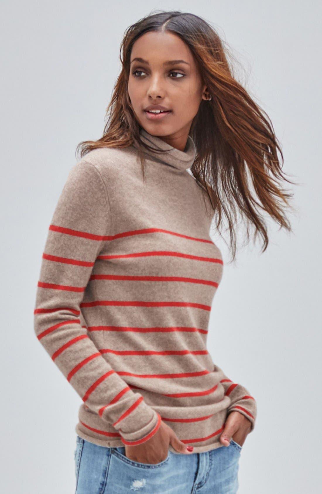 Alternate Image 6  - Halogen® Wool & Cashmere Funnel Neck Sweater (Regular & Petite)