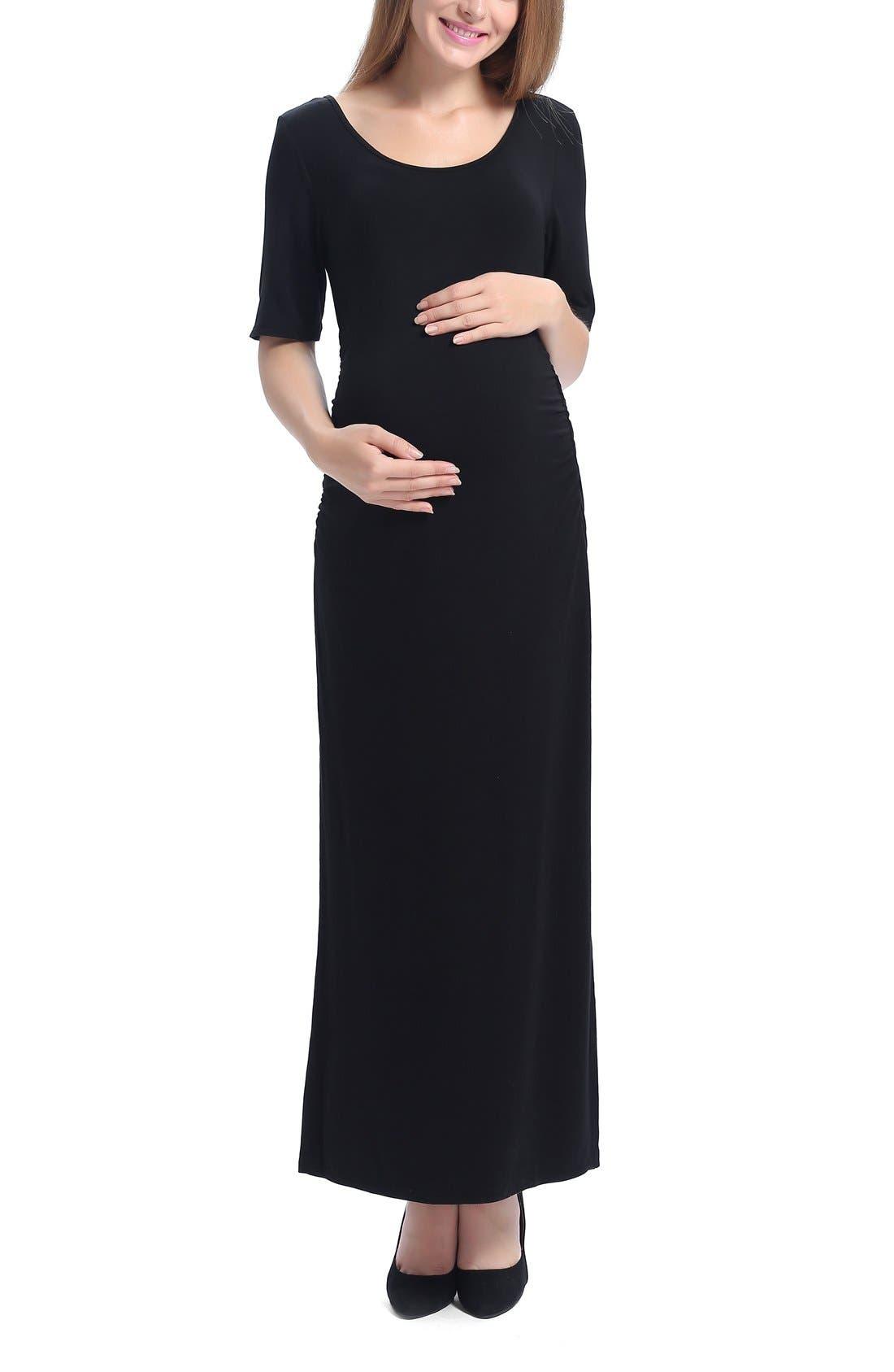 Isla Maternity Maxi Dress,                         Main,                         color, Black