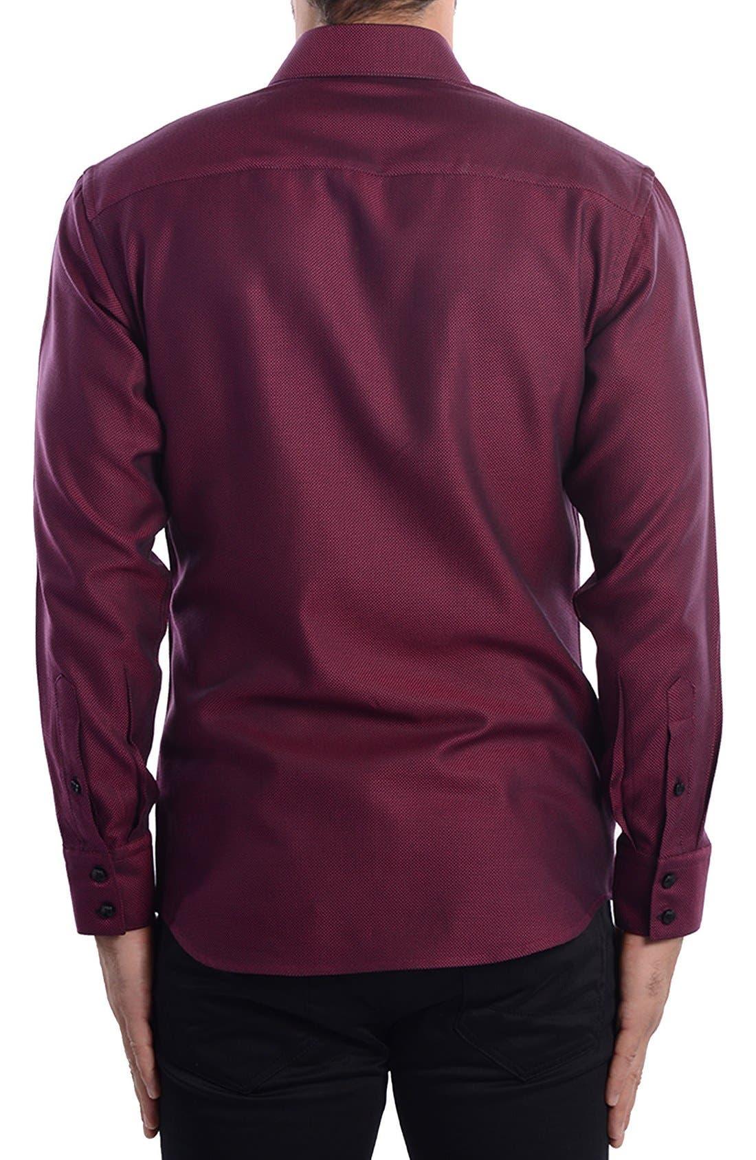 White Arrow Dobby Modern Fit Sport Shirt,                             Alternate thumbnail 2, color,                             Red