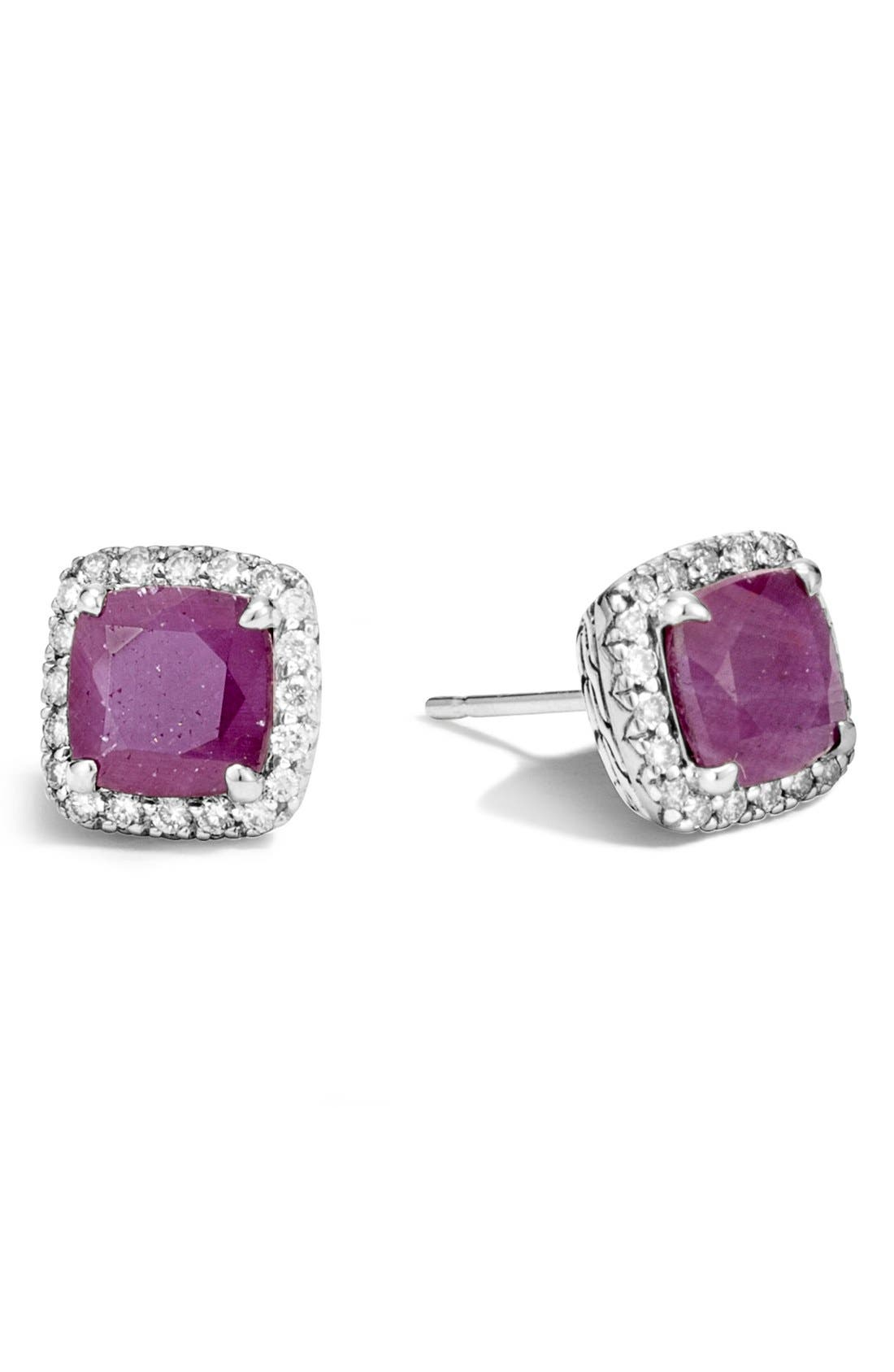 JOHN HARDY Classic Chain - Batu Precious Stone & Pavé Diamond Stud Earrings