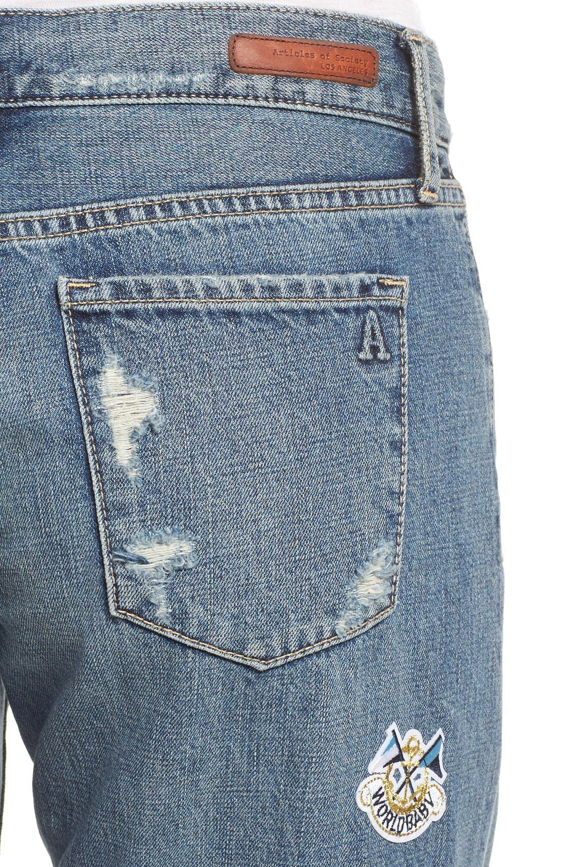 Alternate Image 5  - Articles of Society Janis Destroyed Boyfriend Jeans with Patches