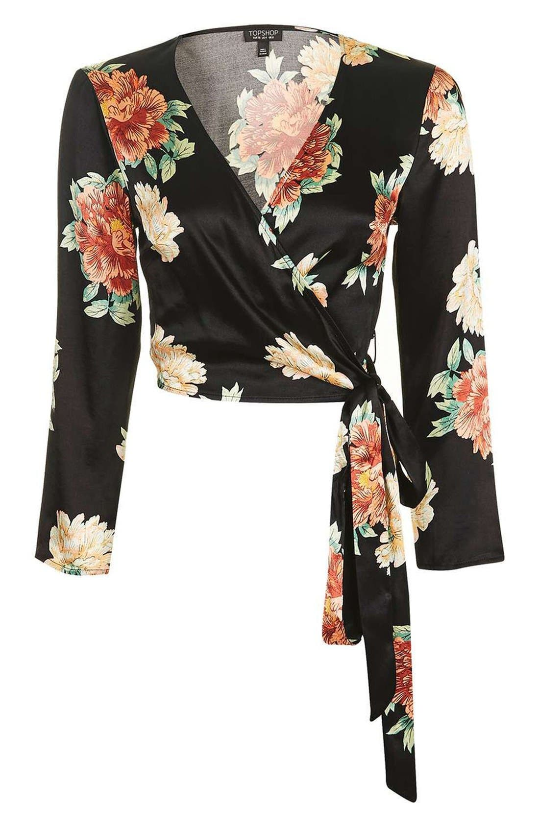 Alternate Image 4  - Topshop Sophia Floral Satin Wrap Top