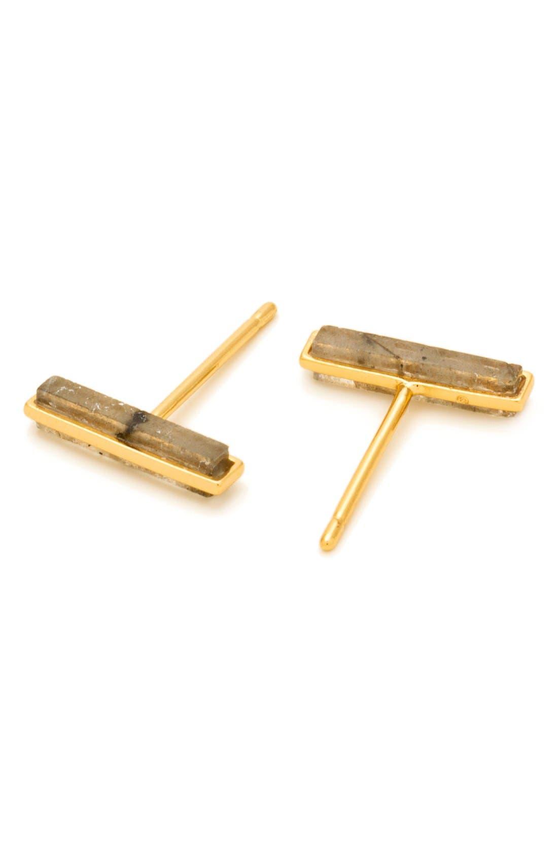 Dez Bar Stud Earrings,                             Alternate thumbnail 2, color,                             Labradorite/ Gold