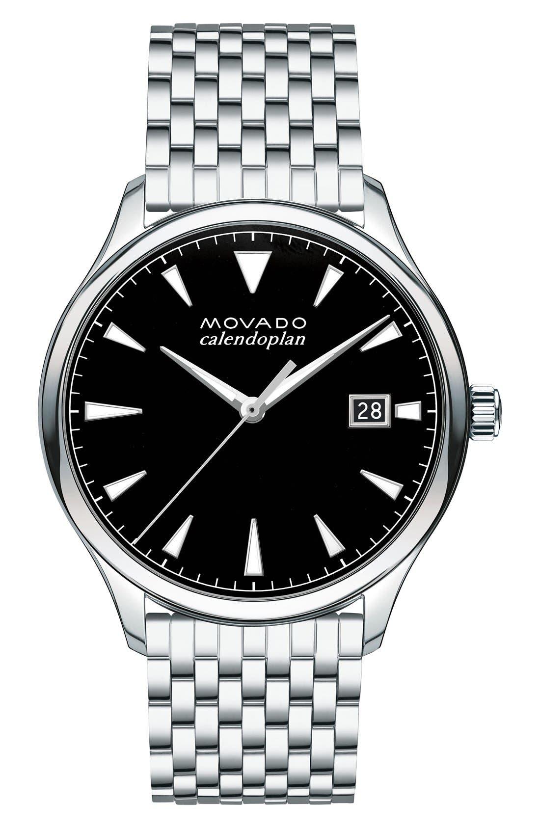 Heritage Calendoplan Bracelet Watch, 40mm,                             Main thumbnail 1, color,                             Silver/ Black