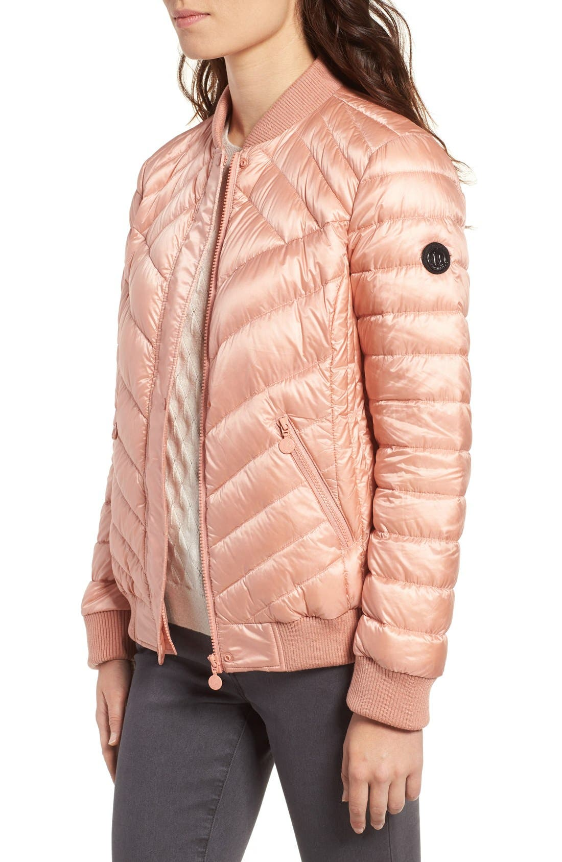 Water Resistant Insulated Bomber Jacket,                             Alternate thumbnail 5, color,                             Peach Blush
