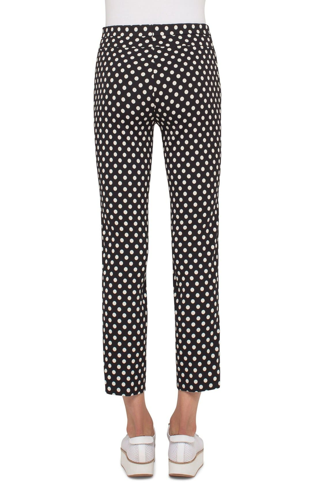 Franca Dot Print Techno Stretch Pants,                             Alternate thumbnail 2, color,                             Dot Print Black