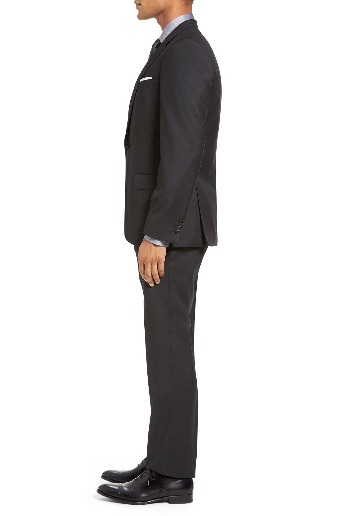 Huge/Genius Trim Fit Wool Suit,                             Alternate thumbnail 3, color,                             Charcoal