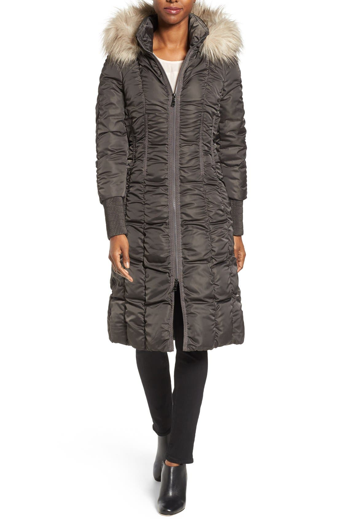 Main Image - Tahari Elizabeth Faux Fur Trim Hooded Long Coat