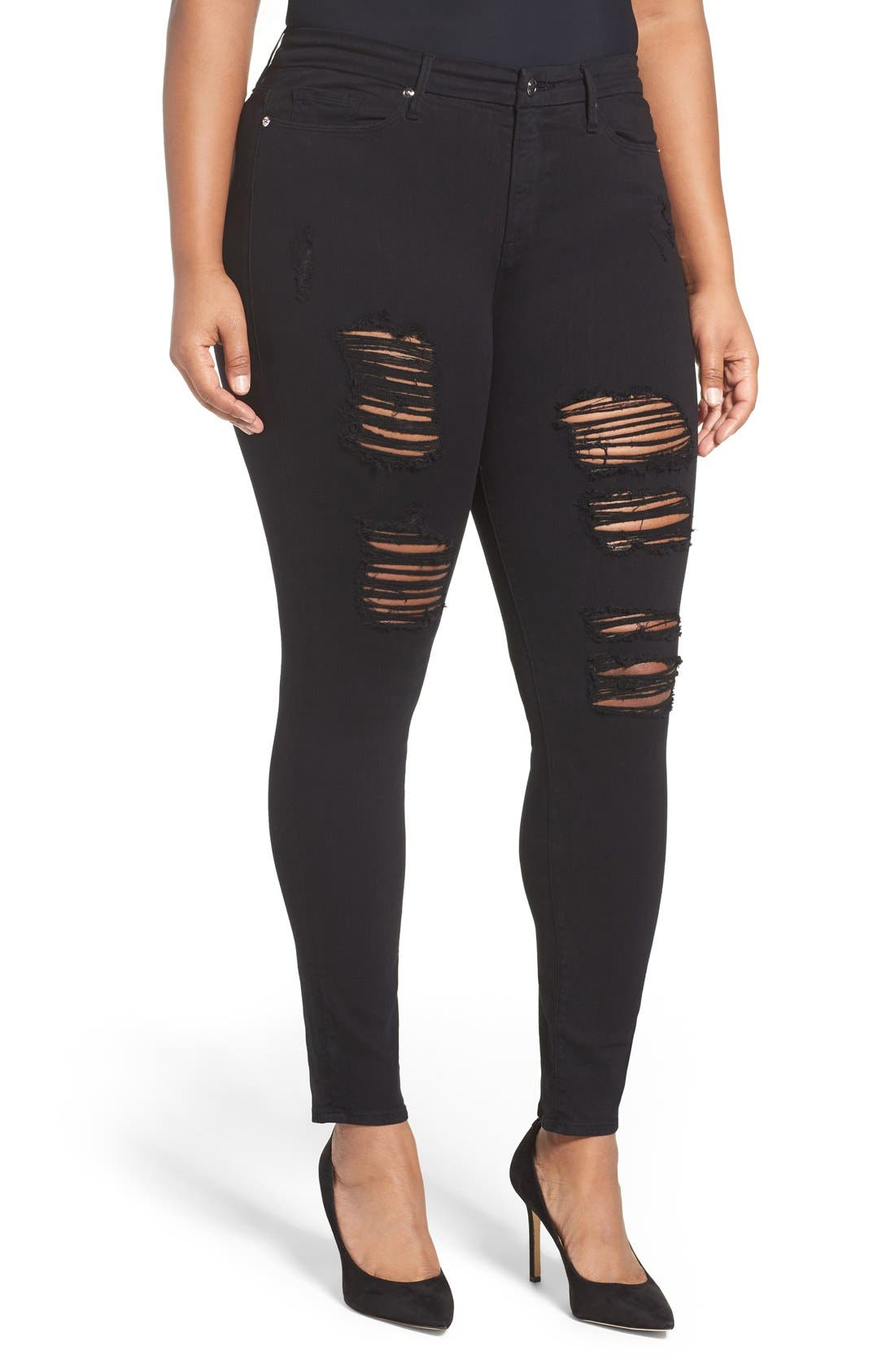 Alternate Image 7  - Good American Good Legs High Rise Ripped Skinny Jeans (Black 002)