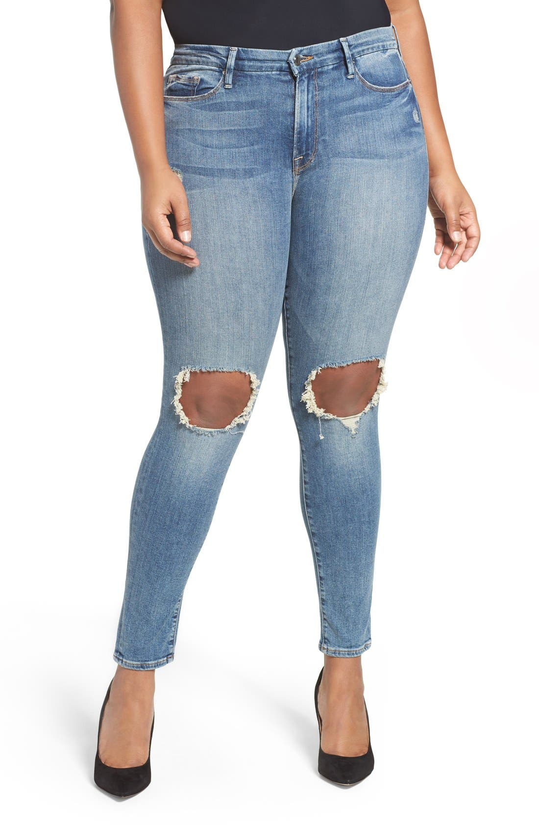 Alternate Image 5  - Good American Good Legs High Rise Ripped Skinny Jeans (Blue 006)