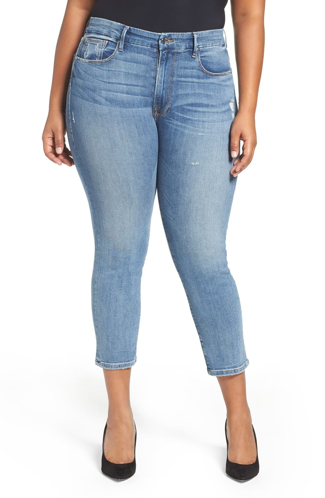 Alternate Image 6  - Good American Good Cuts High Rise Boyfriend Jeans (Blue 012) (Extended Sizes)