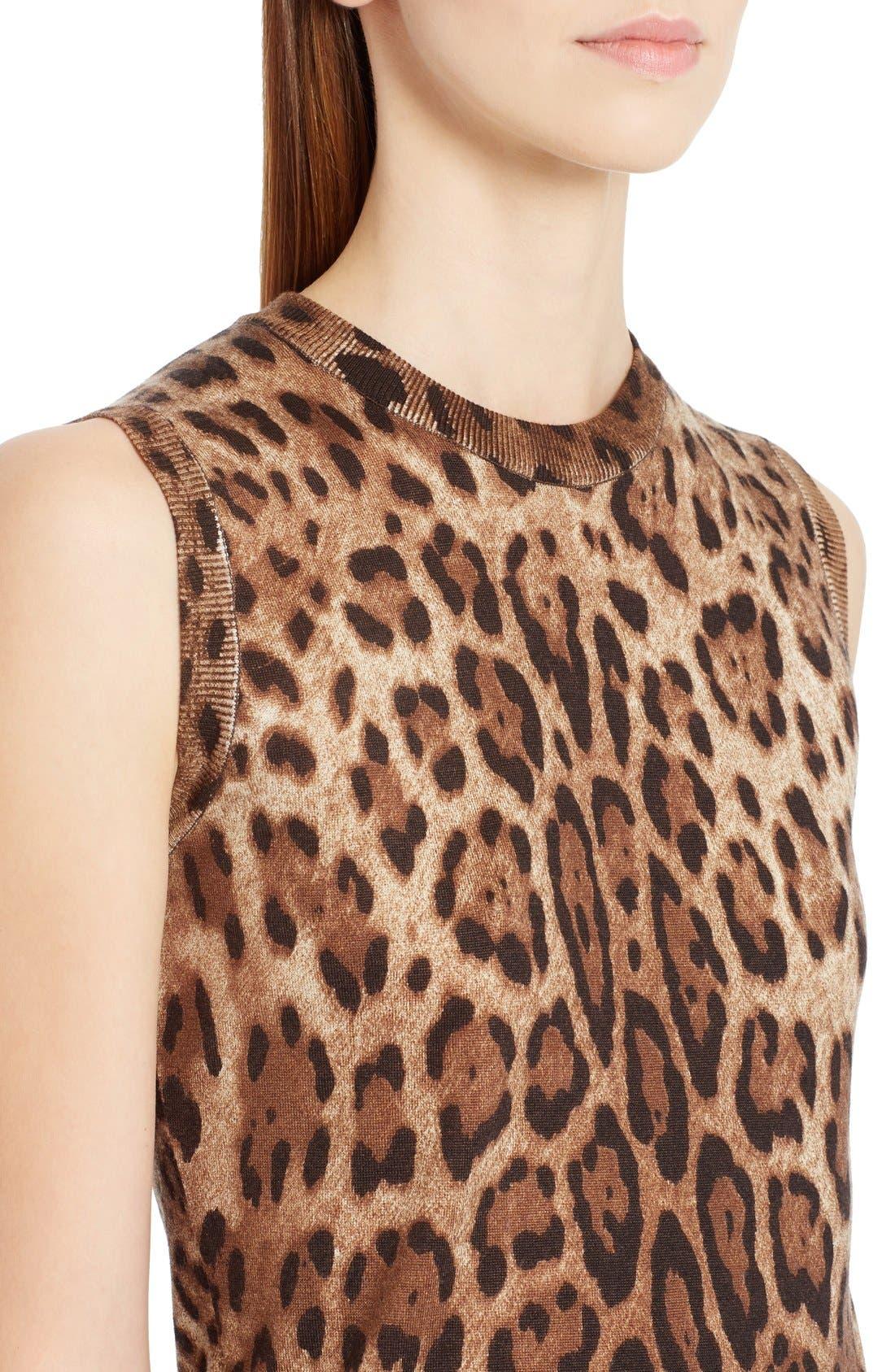 Alternate Image 5  - Dolce&Gabbana Leopard Print Silk & Cashmere Sweater