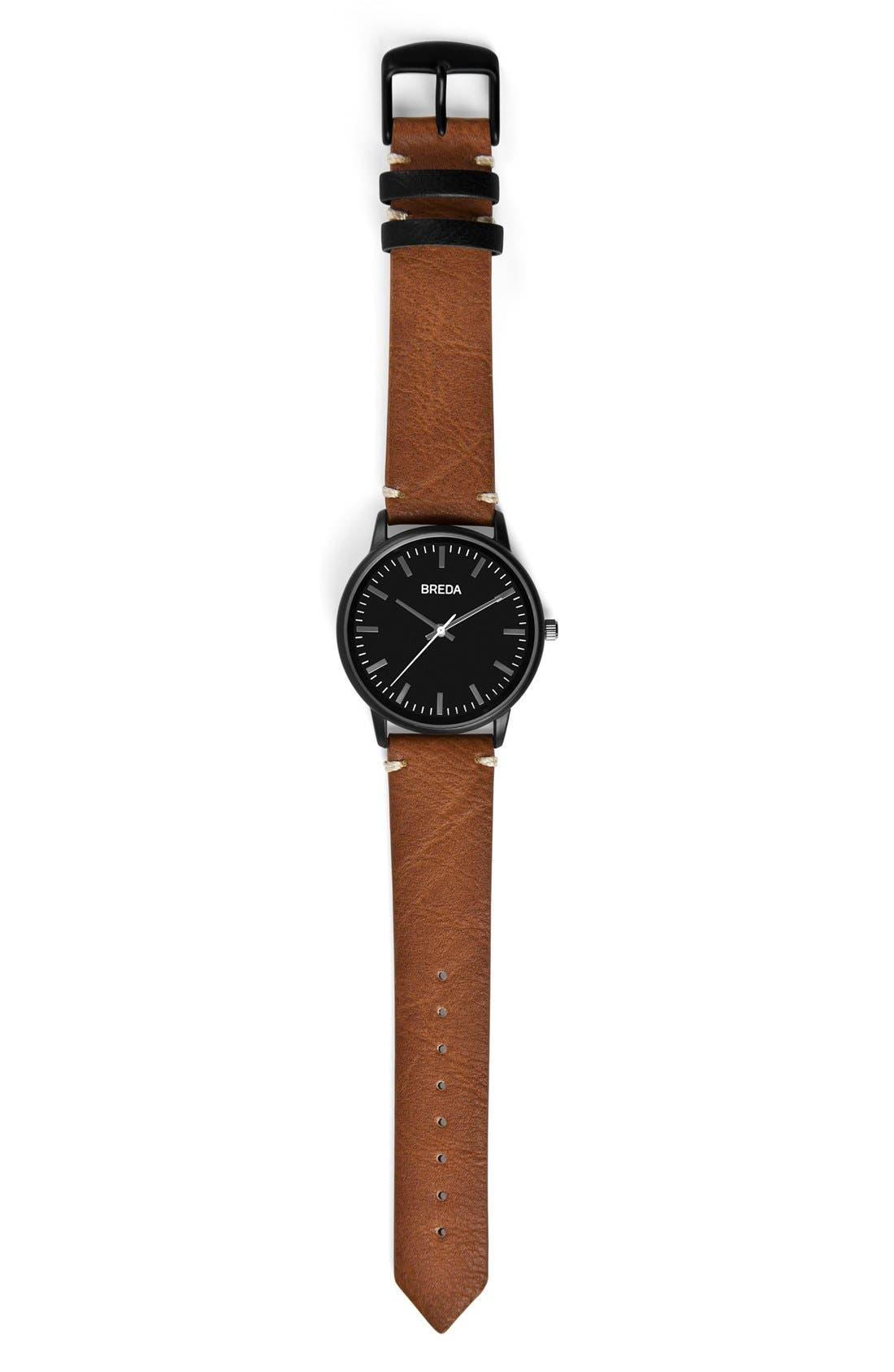 Alternate Image 3  - BREDA Zapf Round Leather Strap Watch, 39mm