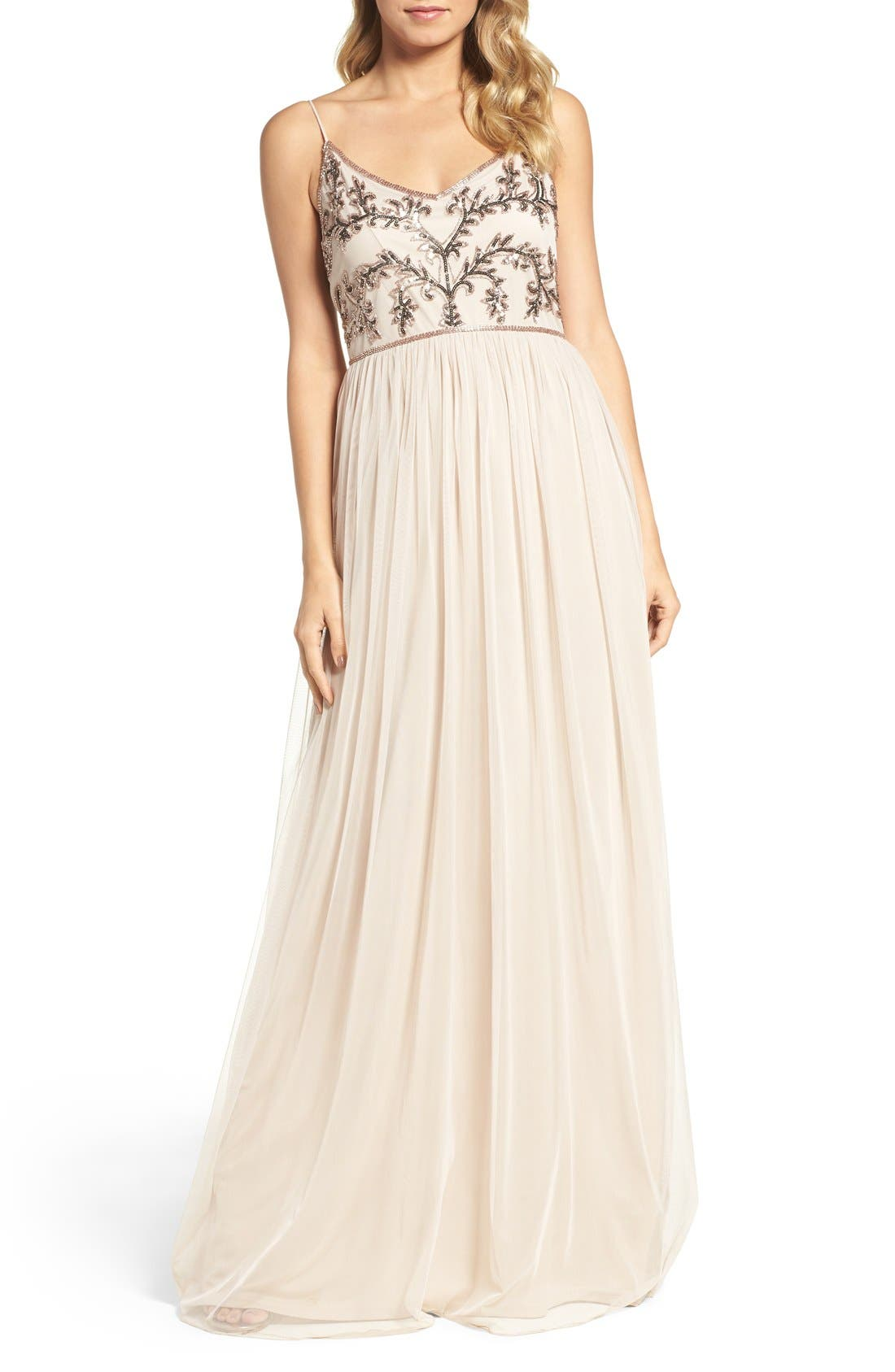 Main Image - Adrianna Papell Spaghetti Strap Embroidered Bodice Gown