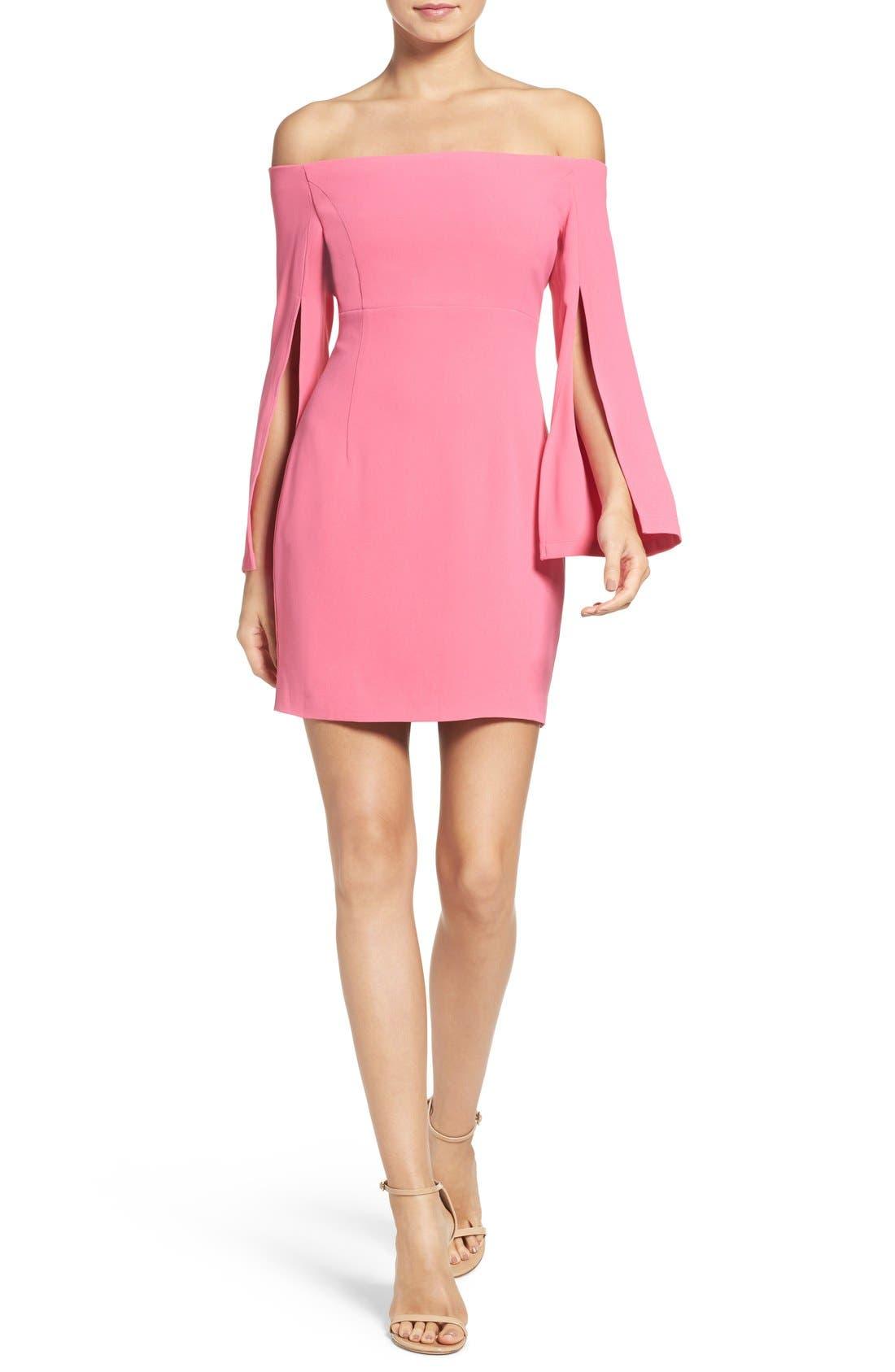 Ava Off the Shoulder Dress,                             Alternate thumbnail 4, color,                             Tulip Pink