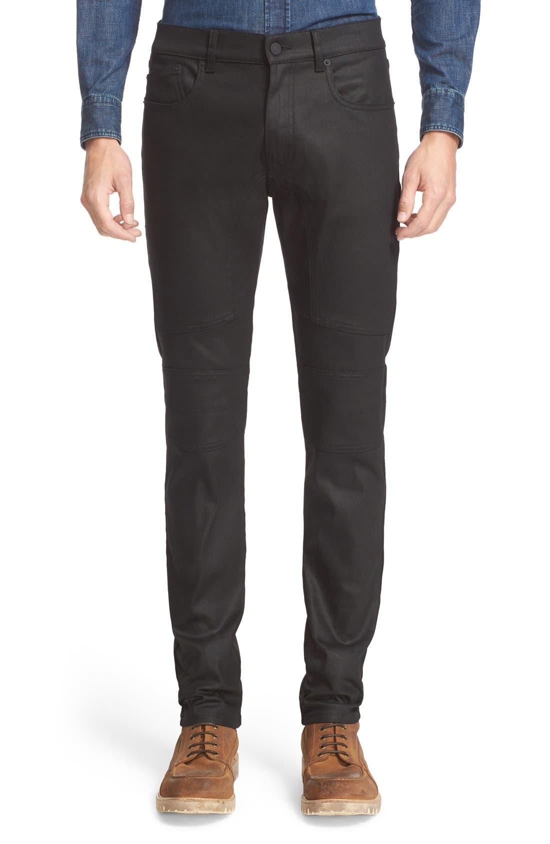 Westham Raw Stretch Denim Moto Jeans,                         Main,                         color, Black