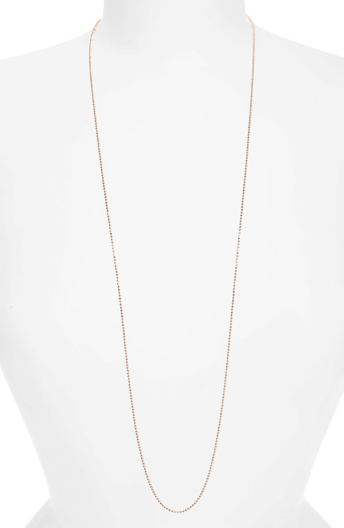 Long Ball Chain Necklace,                             Main thumbnail 1, color,                             Rose Gold