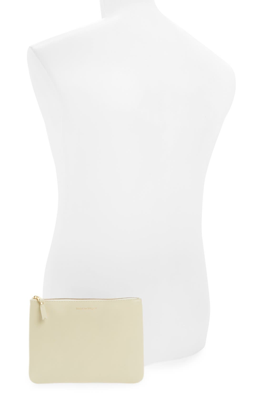 Medium Classic Leather Zip-Up Pouch,                             Alternate thumbnail 3, color,                             Off White