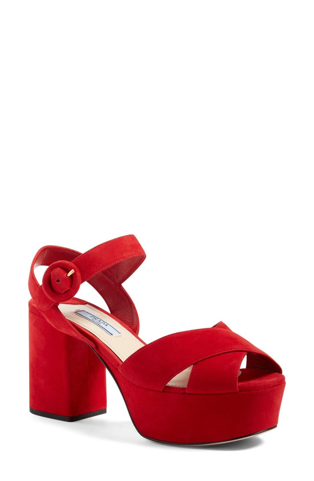 Main Image - Prada Strappy Platform Sandal (Women)