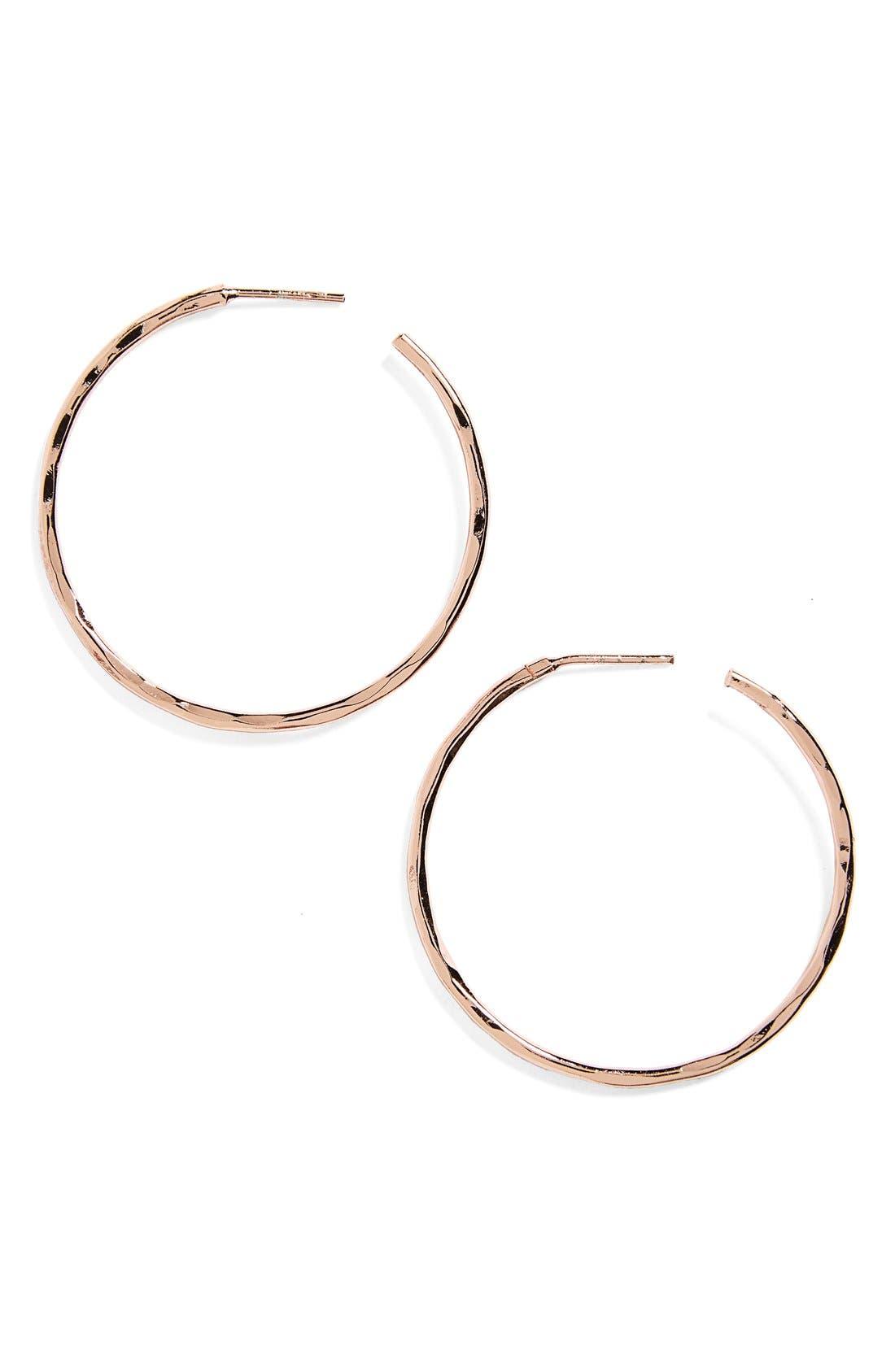 Medium Hammered Hoop Earrings,                             Main thumbnail 1, color,                             Rose Gold