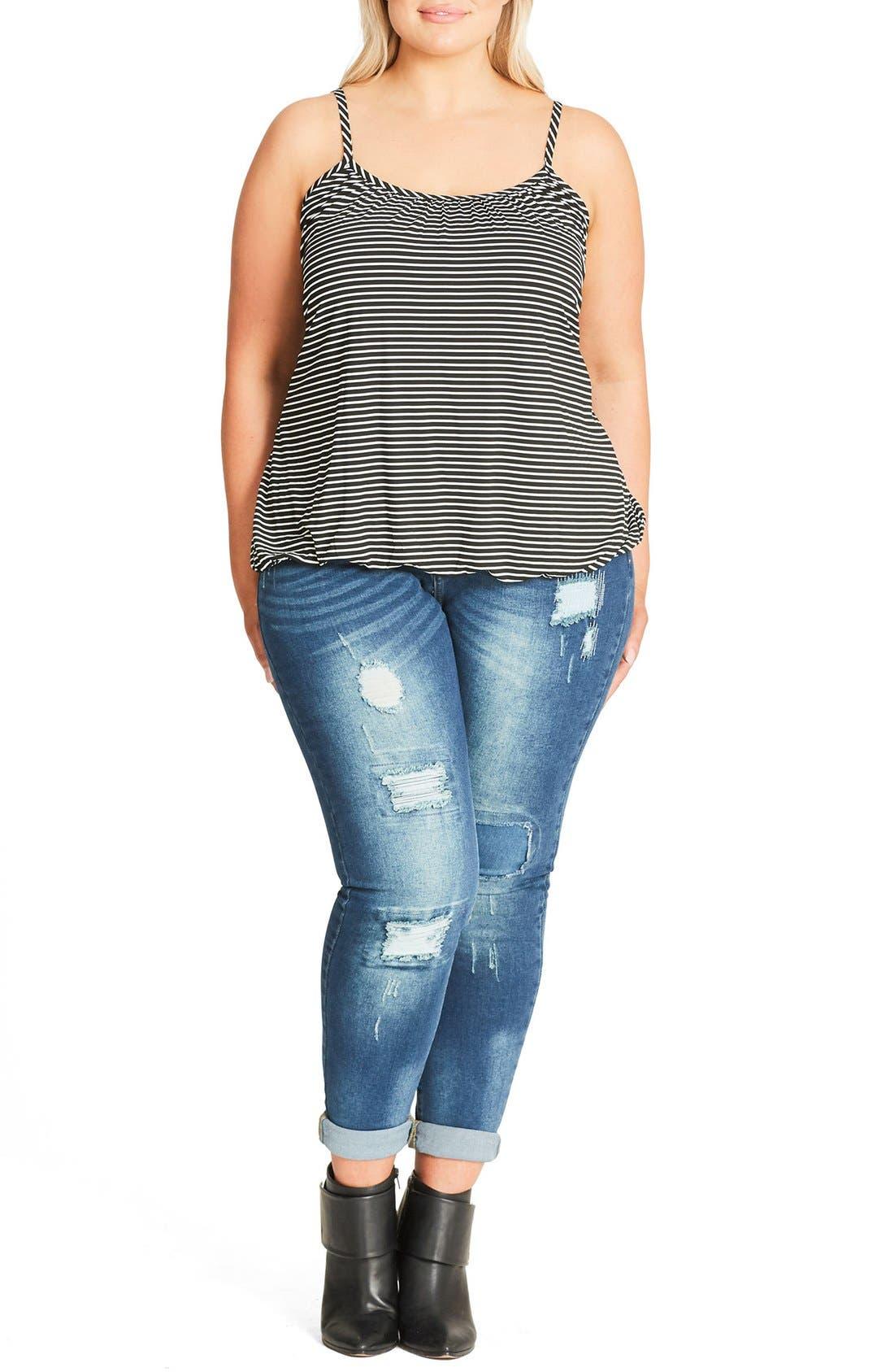 Alternate Image 1 Selected - City Chic Stripe Bubble Hem Camisole (Plus Size)