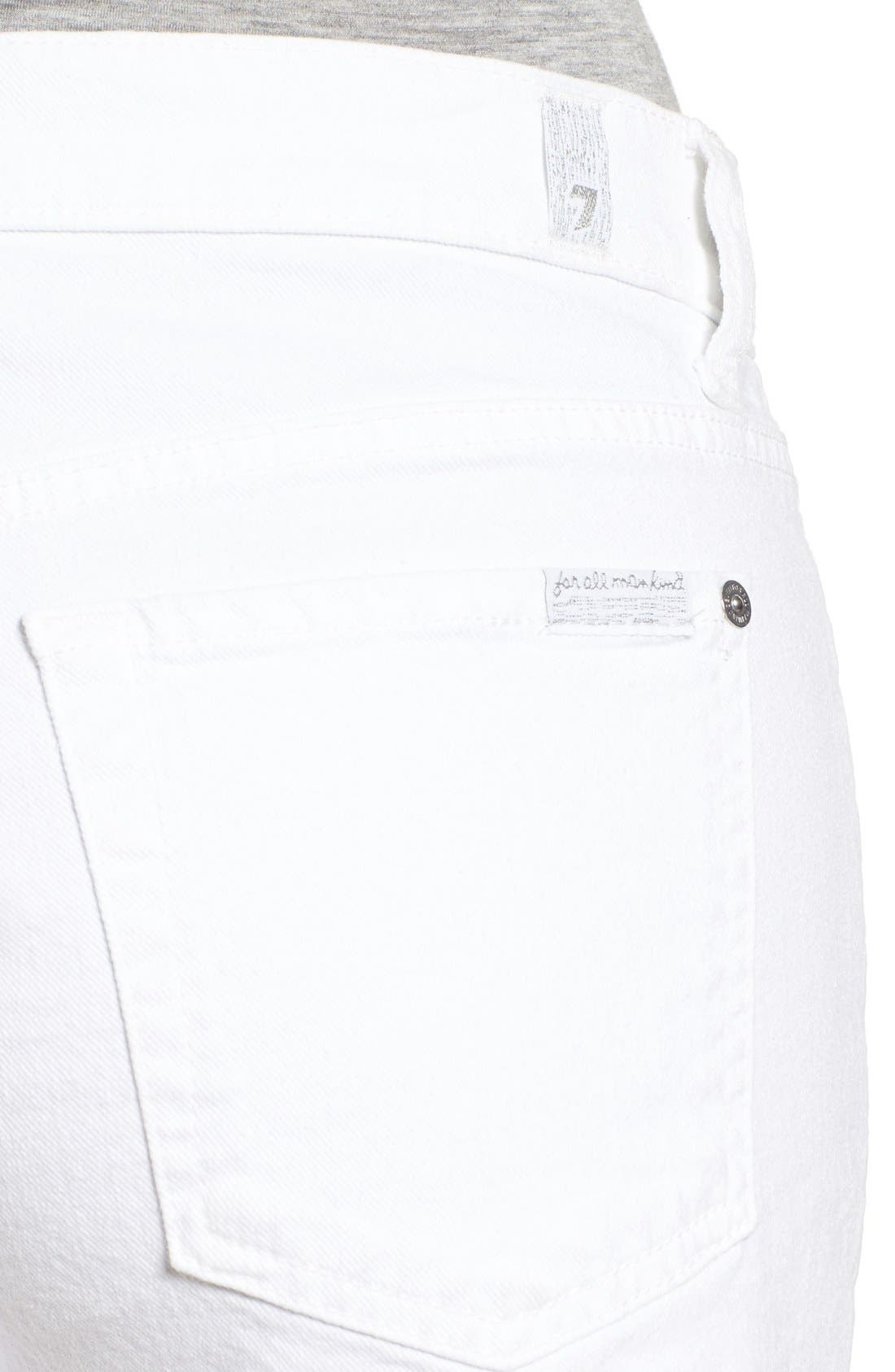Alternate Image 4  - 7 For All Mankind® Cutoff Denim Shorts (Clean White)