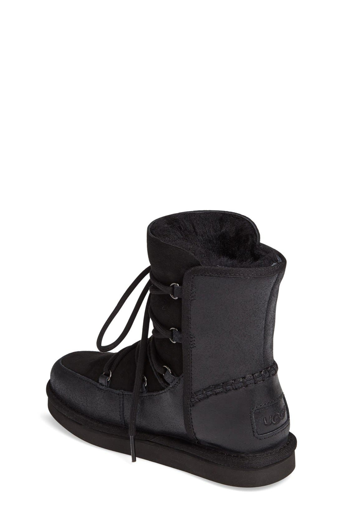 Eliss Water Resistant Suede Boot,                             Alternate thumbnail 2, color,                             Black Suede