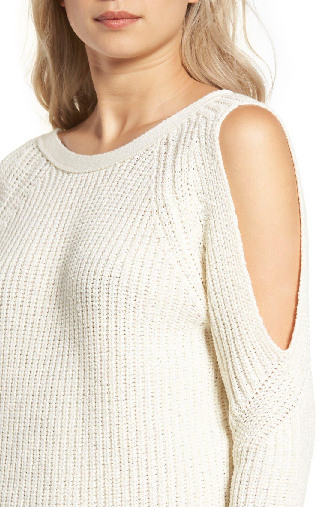 Cold Shoulder Sweater,                             Alternate thumbnail 4, color,                             Cream